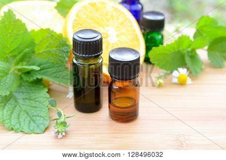 essential oils with orange and lemon balm