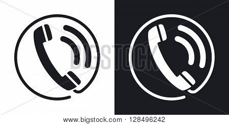 Telephone receiver icon stock vector. Two-tone version on black and white background