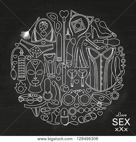 Round background made of sex toys. Vector illustration.