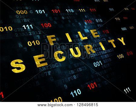 Safety concept: Pixelated yellow text File Security on Digital wall background with Binary Code
