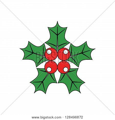 Cartoon simple mistletoe decorative red and green ornament for christmas holly.