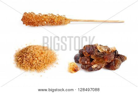 Set of brown cane sugar isolated on a white