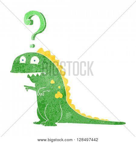 freehand retro cartoon confused dinosaur