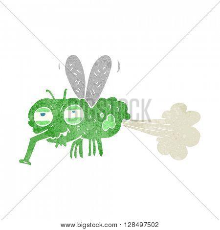 freehand retro cartoon gross farting fly