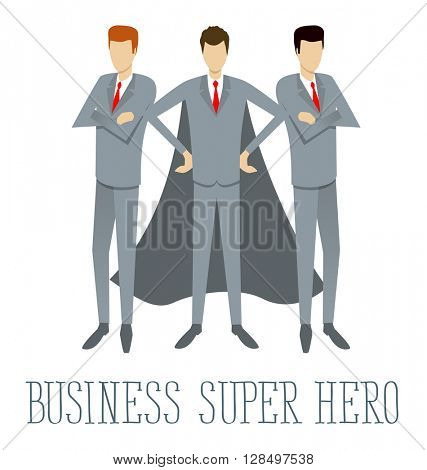 Super hero team flat infographic vector. Business concept
