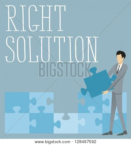 Right solution concept flat infographic vector. Business concept
