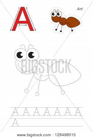 Vector exercise illustrated alphabet. Learn handwriting. Gaming and education. Page to be traced. Kid game. Complete english alphabet. Tracing worksheet for letter A, ant