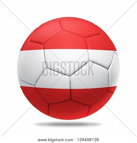 3D soccer ball with Austria team flag isolated on white