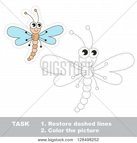 Dragonfly in vector to be traced. Restore dashed line and color the picture. Trace game for children.