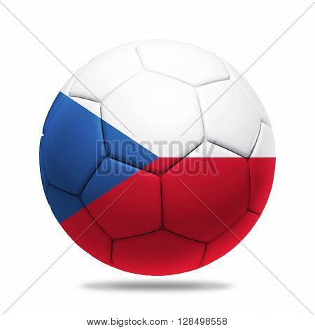 3D soccer ball with Czech Republic team flag isolated on white