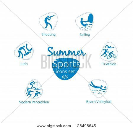 Summer sports icons set 6 of 6 vector illustration template for web print and other projects