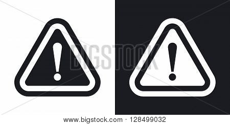 Vector attention sign with exclamation mark icon. Two-tone version on black and white background