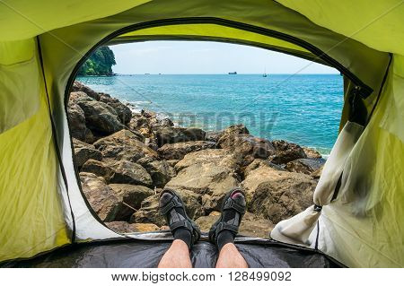 View from inside a tent on the Black Sea Coast Georgia