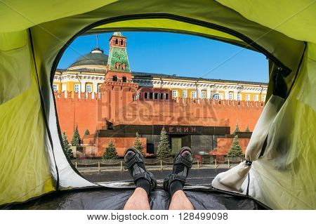 View from inside a tent on the Mausoleum of Lenin and Kremlin wall on Red Square in Moscow Russia