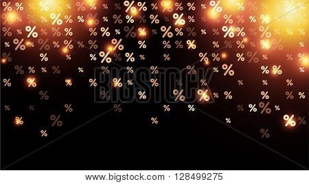 Black sale background with percent signs. Vector paper illustration.