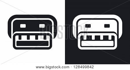 Vector usb connector icon. Two-tone version on black and white background
