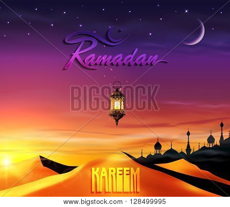 Ramadan, greeting background with desert and lantern.