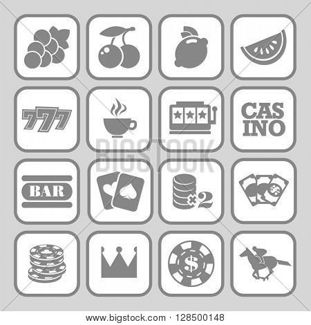 The set of flat monochrome casino icons for slot machine.