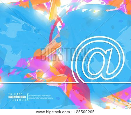 Creative vector e-mail. Art illustration template background. For presentation, layout, brochure, logo, page, print, banner, poster, cover, booklet, business infographic, wallpaper, sign, flyer.
