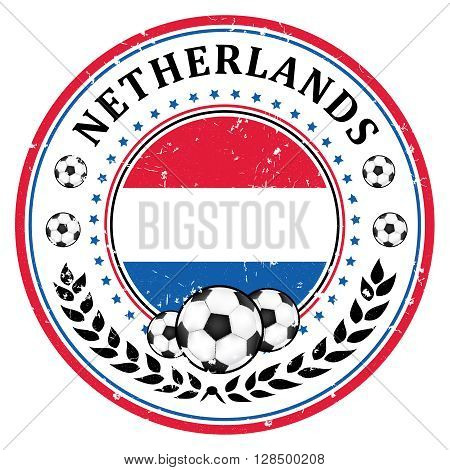 Netherlands football team sign, containing a soccer ball and the Dutch flag. Print colors used