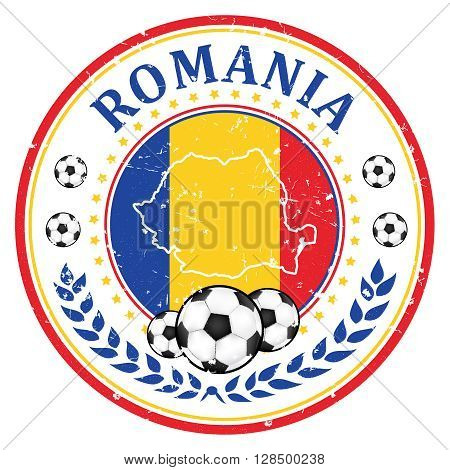 Romania football team sign, containing a soccer ball and the Romanian flag. Print colors used