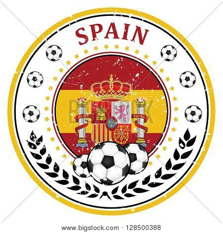 Printable Spain football team label. Spanish football national team sign, containing a soccer ball and the Spanish flag. Print colors used