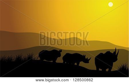 silhouette of rhinoceros africa Hill with yellow backgrounds