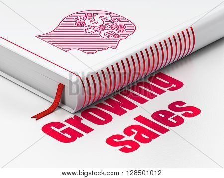 Finance concept: closed book with Red Head With Finance Symbol icon and text Growing Sales on floor, white background, 3D rendering