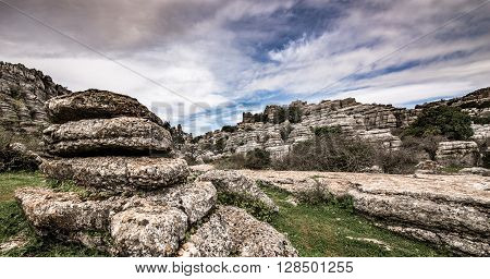 View over the rocks of El Torcal de Antequera in the plains near Malaga, Andalusia, Spain