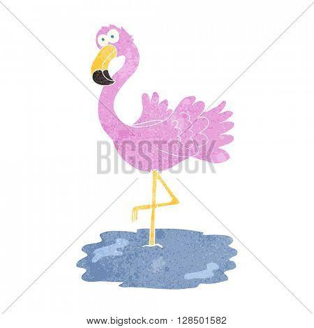 freehand retro cartoon flamingo