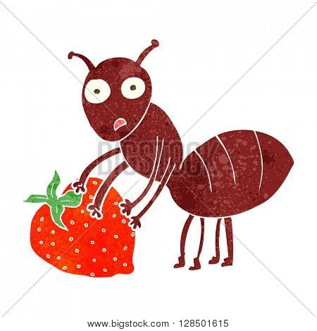 freehand retro cartoon ant with berry