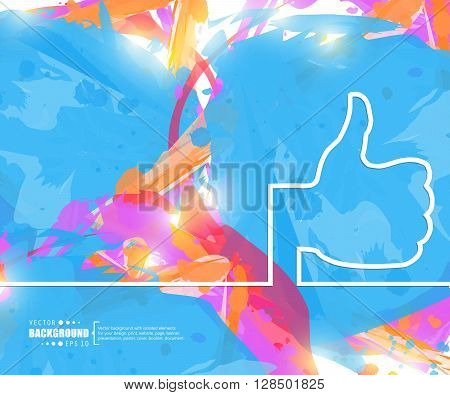 Creative vector thumbs up. Art illustration template background. For presentation, layout, brochure, logo, page, print, banner, poster, cover, booklet, business infographic, wallpaper, sign, flyer.