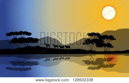Beautiful silhouette of zebra in riverbank with reflection
