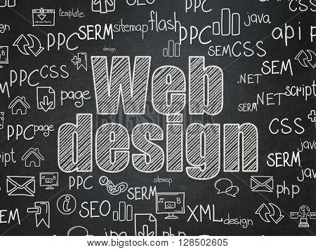 Web development concept: Chalk White text Web Design on School board background with  Hand Drawn Site Development Icons, School Board