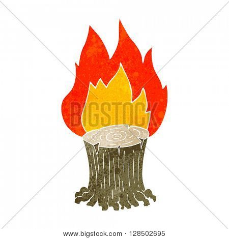 freehand retro cartoon big tree stump on fire