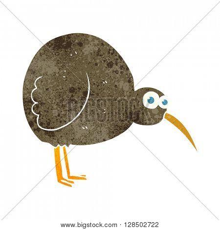 freehand retro cartoon kiwi bird
