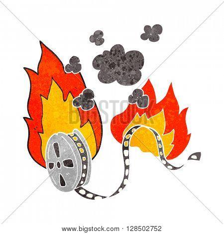 freehand retro cartoon movie film burning