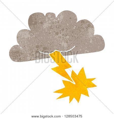 freehand retro cartoon storm cloud