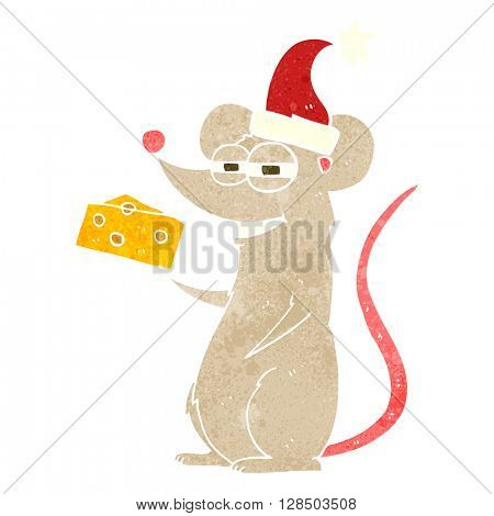 freehand retro cartoon christmas mouse