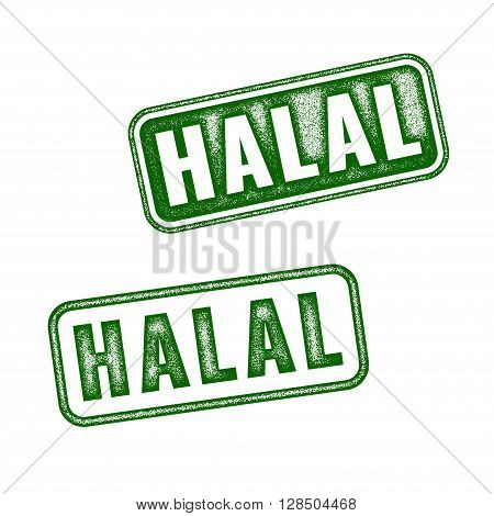 Set Of Realistic Vector Halal Grunge Rubber Stamp
