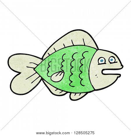 freehand retro cartoon funny fish
