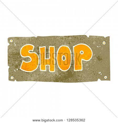 freehand retro cartoon shop sign