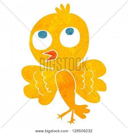freehand retro cartoon bird
