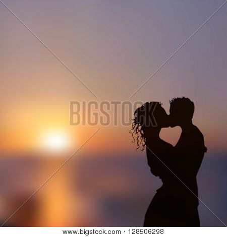 Summer poster with a kissing couple silhouette against contrast blue and yellow sunset seascape blurred background. Realistic vector illustration.