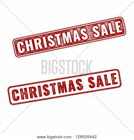 Two Red Realistic Vector Christmas Sale Stamps