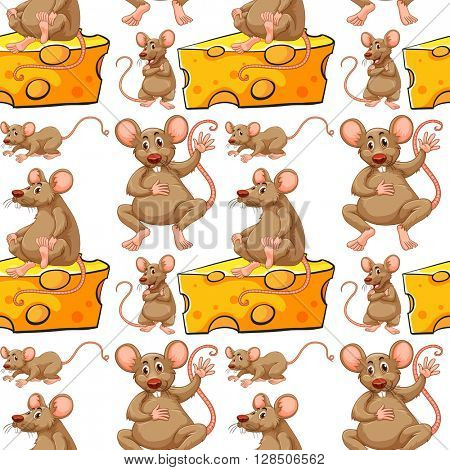 Seamless mouse and cheese slice illustration