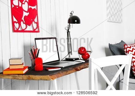 Stylish workplace at home, indoors