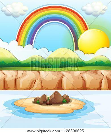 Scene with rainbow at sea illustration