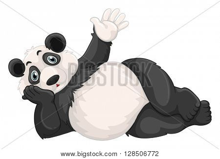 Cute panda waving hand illustration