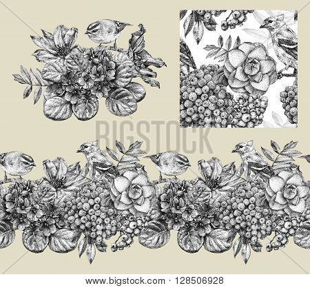 Set of border pattern and illustration with different flowers birds and plants drawn by hand with black ink. Graphic drawing pointillism technique